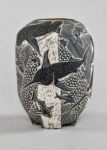 Tim Christensen Fine Drawings On Porcelain Pottery Sgraffito Pottery Designs Pottery