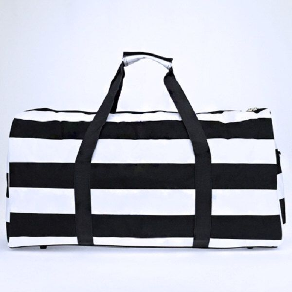 A personal favorite from my Etsy shop https://www.etsy.com/listing/483991476/black-and-white-striped-duffle-bag