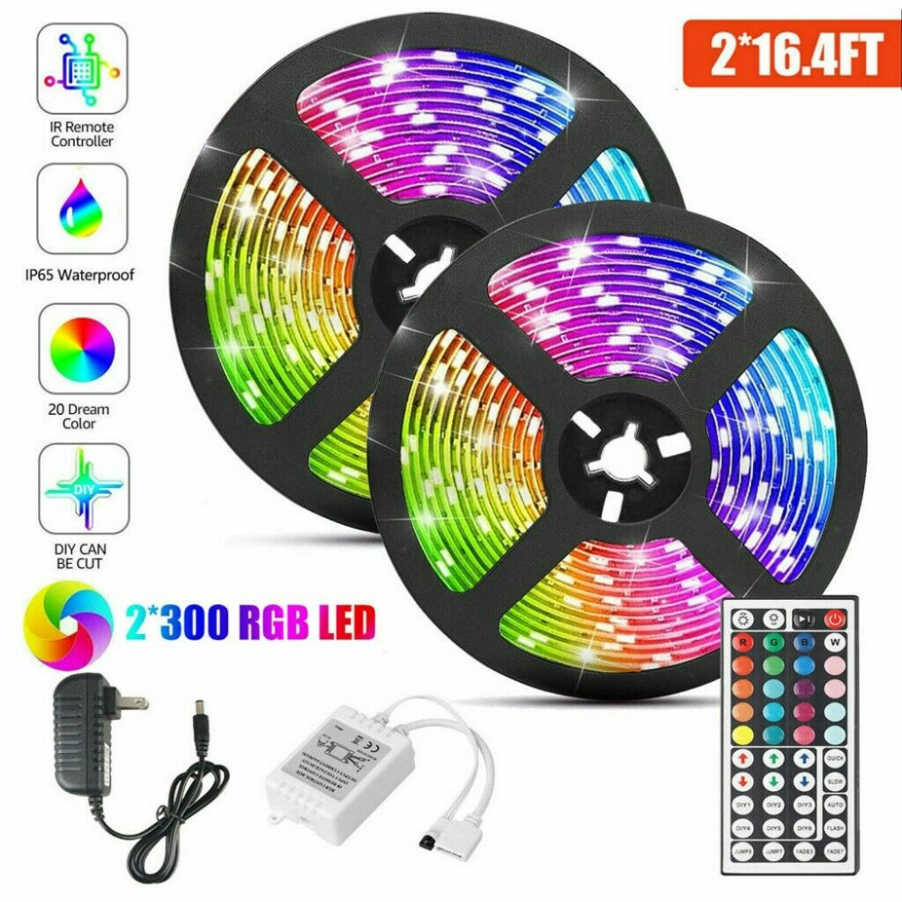 32 8ft Rgb Waterproof 3528 Led Strip Light Smd 44 Key Remote 12v Dc Power Kits Ebay In 2020 Rgb Led Strip Lights Led Strip Lighting Strip Lighting