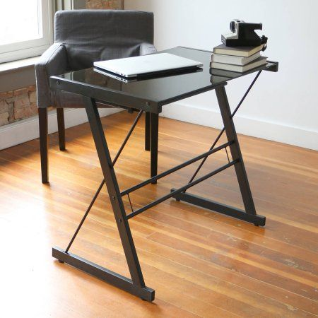 Glass Top Black Computer Desk With Pull Out Keyboard Tray By Manor Park Walmart Com Metal Computer Desk Classic Desk Black Desk
