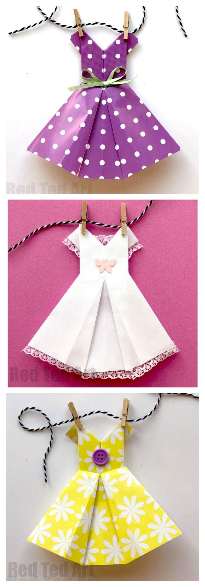 4647a9fec Cómo hacer un vestido de Origami instrucciones paso a paso. Vestido de  papel fácil Cómo para principiantes. Me encantan estos divertidos vestidos  Origami