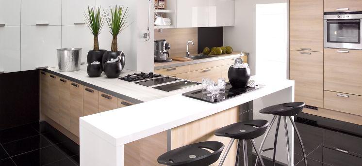 Cuisine moderne bois et laqu blanc cuisine - Cuisine blanc et bois moderne ...