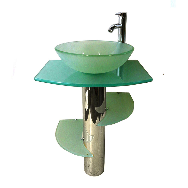 Kokols Modern Bathroom Vanities Pedestal Frost Glass Bowl Vessel