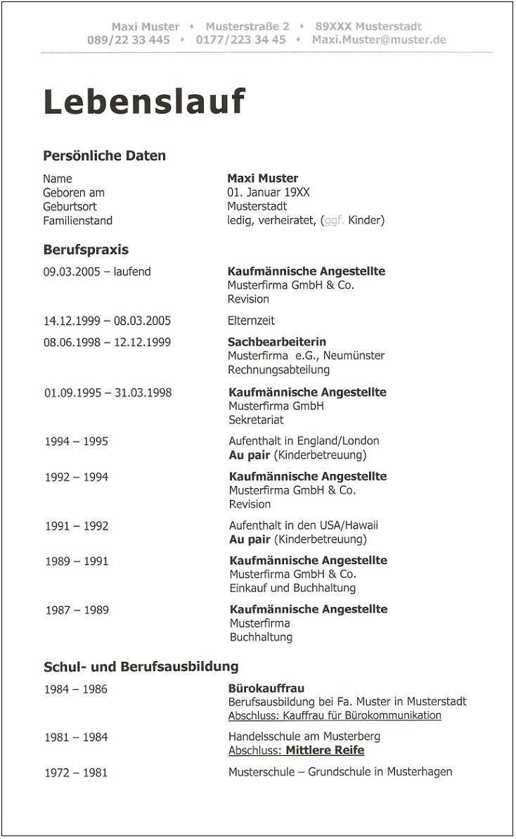 4. Aktueller_moderner - ausführlicher Lebenslauf ID 445 Seite 1/2 ...