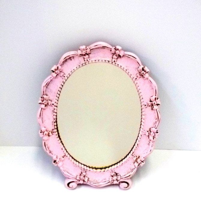 stand up vanity mirror. 1943 Oval Pink Syroco Mirror Upcycled Shabby Chic Stand Up Vanity  Table Cottage