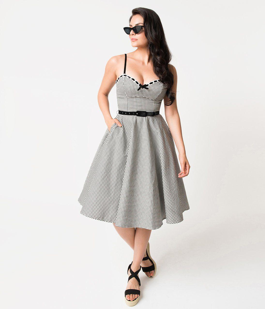 Micheline Pitt For Unique Vintage 1950s Style Black White Gingham Be Vintage Fashion 1950s Fashion Vintage Fashion 1950s