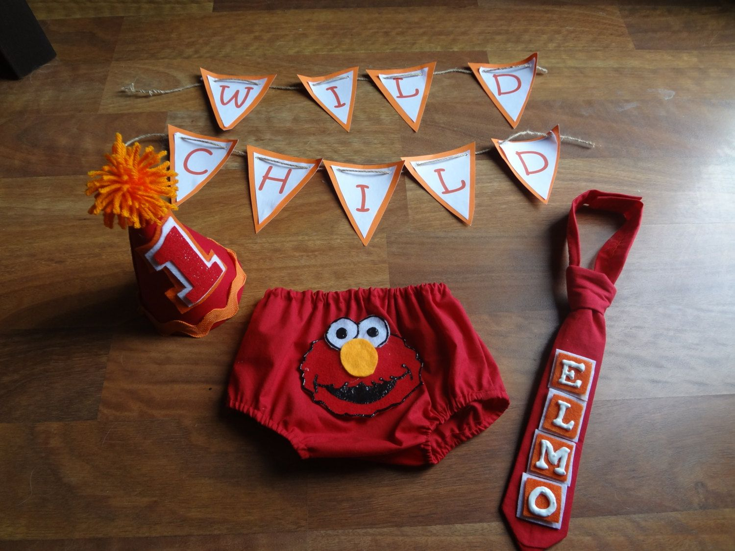 1st Birthday Cake Smash Outfit Elmo Sesame Street for Baby Boy by