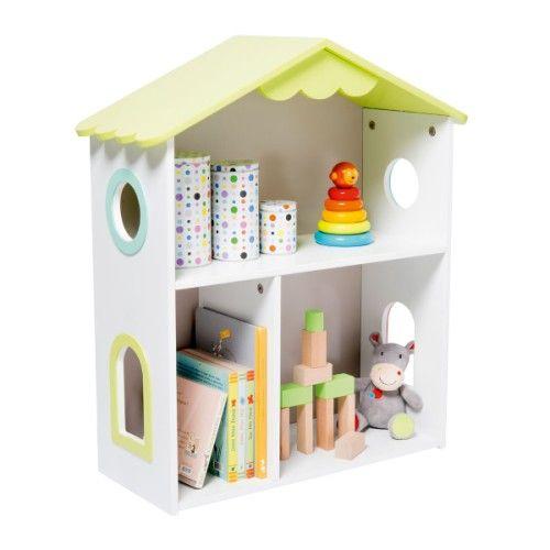 cette petite maison blanche au toit vert est une tag re l 39 enfant y pose quelques livres et. Black Bedroom Furniture Sets. Home Design Ideas