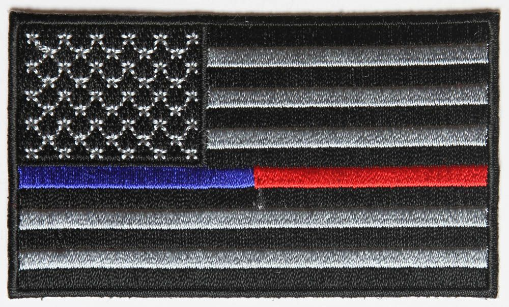 Red And Blue Line Law Enforcement And Firefighter Support American Flag Patch American Flag Patch Flag Patches Blue Red Lines