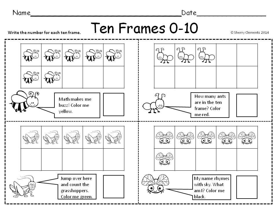 Ten Frames 0-20 Insects - kindergarten and first grade - math center ...