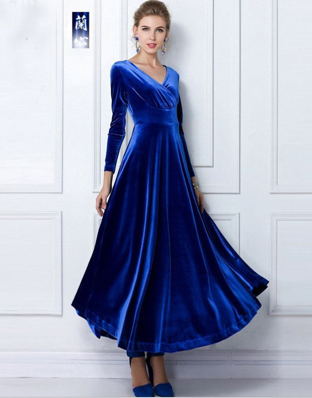 b6d1150a1b7 Royal Blue Long Sleeve Velvet Maxi Dress   fashion   Maxi dress with ...