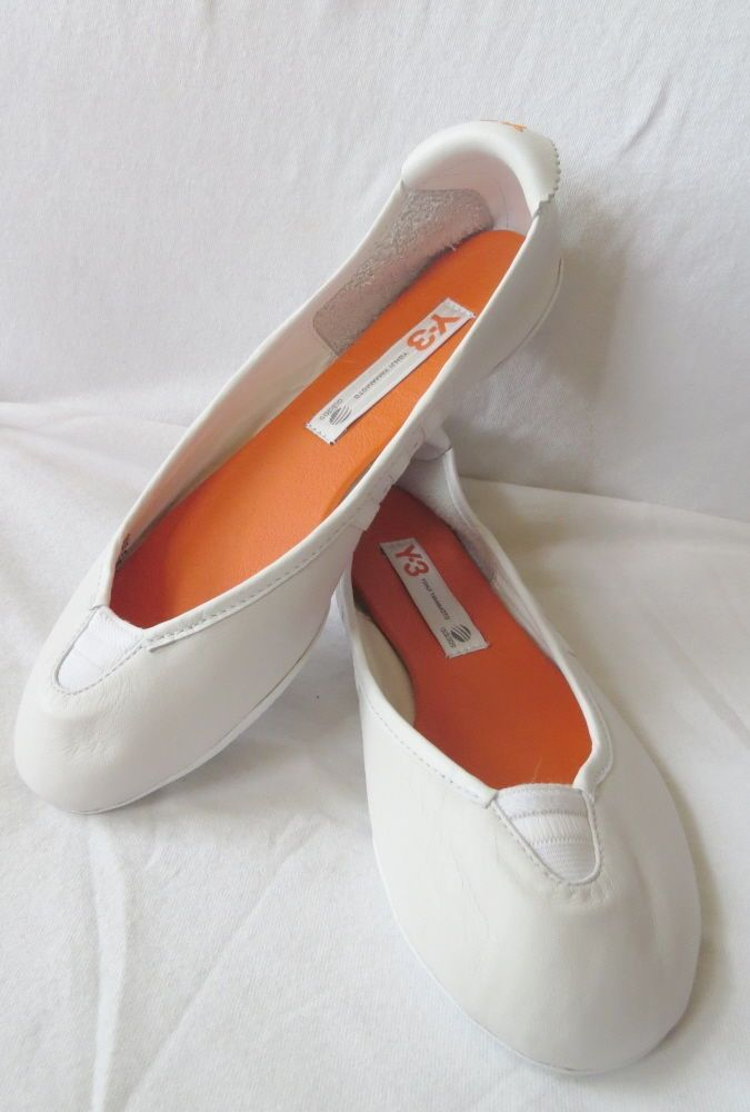 Rare! NIB Y3 YOHJI YAMAMOTO Adidas Ivory Orange SPORT BALLET FLATS Slippers 7.5 #YohjiYamamoto #BalletFlats