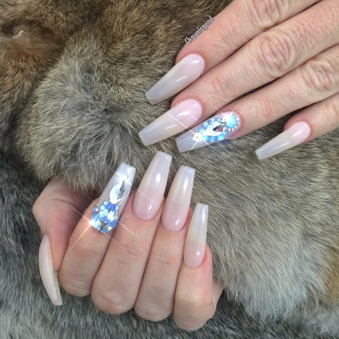 Frosty White + Big Diamonds long coffin nails #nail #nailart #nails ...