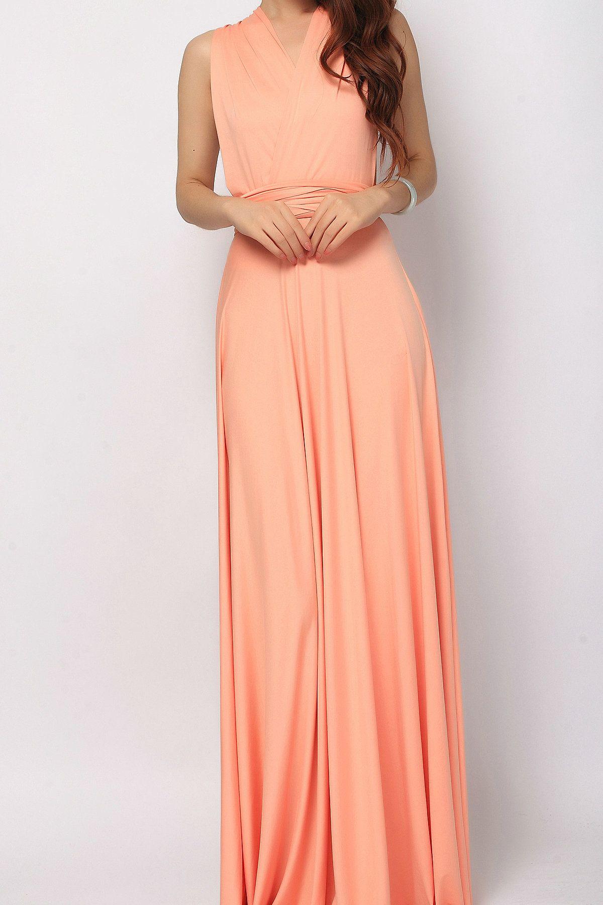 77ca033992 Salmon long infinity dress bridesmaid dress