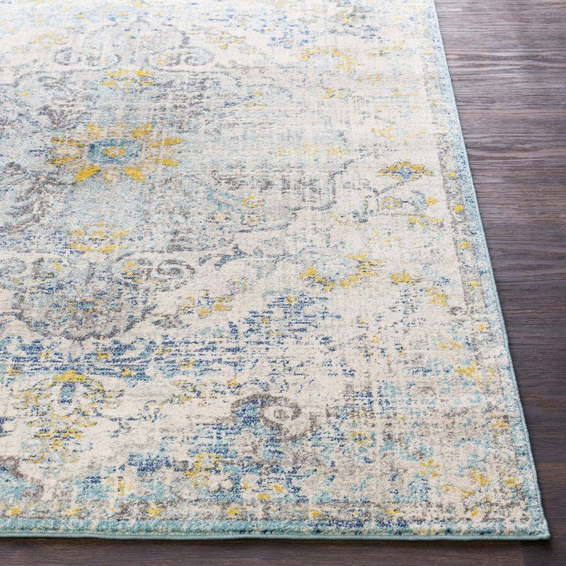 Hillsby Oriental Ivory Cream Teal Yellow Area Rug Area Rugs Yellow Area Rugs Vintage Area Rugs