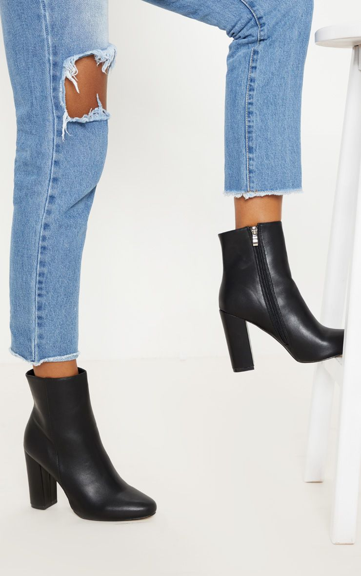 Black Faux Leather Ankle Boot | Black