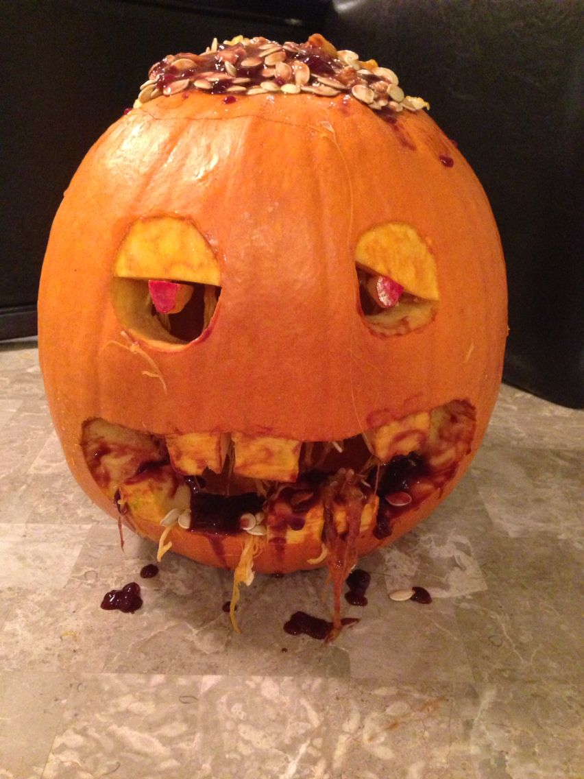 Zombie Pumpkin Used ketchup, raspberry jam, and chocolate syrup for the blood