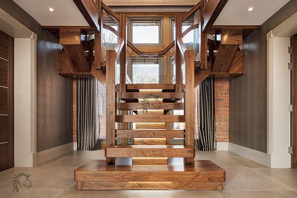 Best Black Walnut Central Feature Staircase Stairway Design 400 x 300