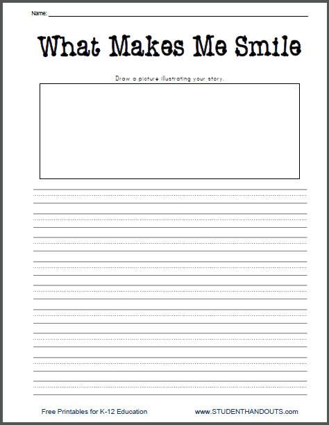 what makes me smile free printable k 2 writing prompt worksheet for little kids work stuff. Black Bedroom Furniture Sets. Home Design Ideas