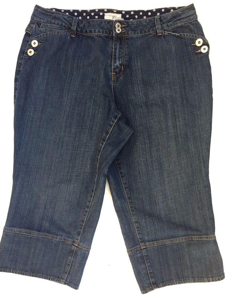 2f08ec3403d Venezia Plus Women s Capris Cropped Pants Blue Denim 20 Medium Wash 40 x 22