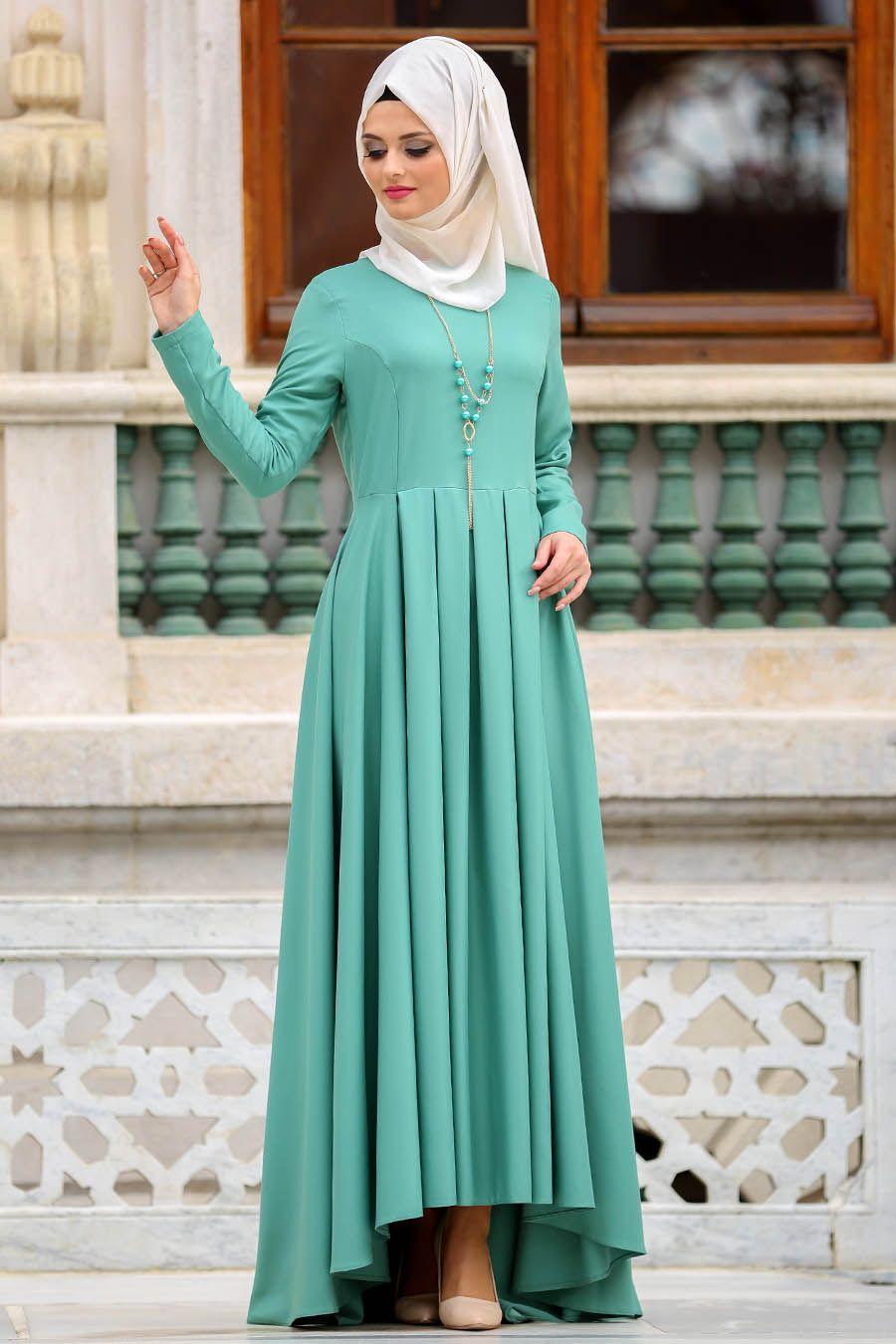 2018 Yeni Sezon Abiye Koleksiyonu Neva Style Kolyeli Peplum Cagla Yesili Tesettur Elbise 41950cy Elbise Musluman Elbisesi Peplum