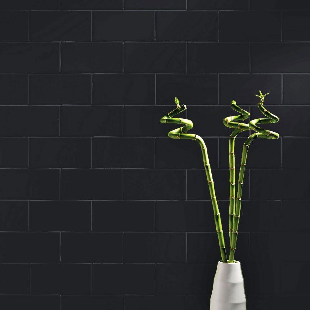 Matt 200x100 Blackheath Black Smooth Metro Tiles Walls