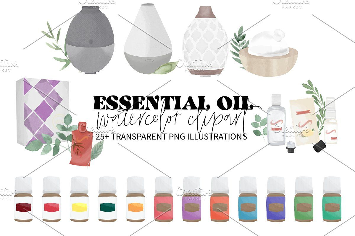 Ad Essential Oil Watercolor Clipart By Flair And Festive On Creativemarket Essential Oil Elements Ha Essential Oils Essential Oils Business Creative Market