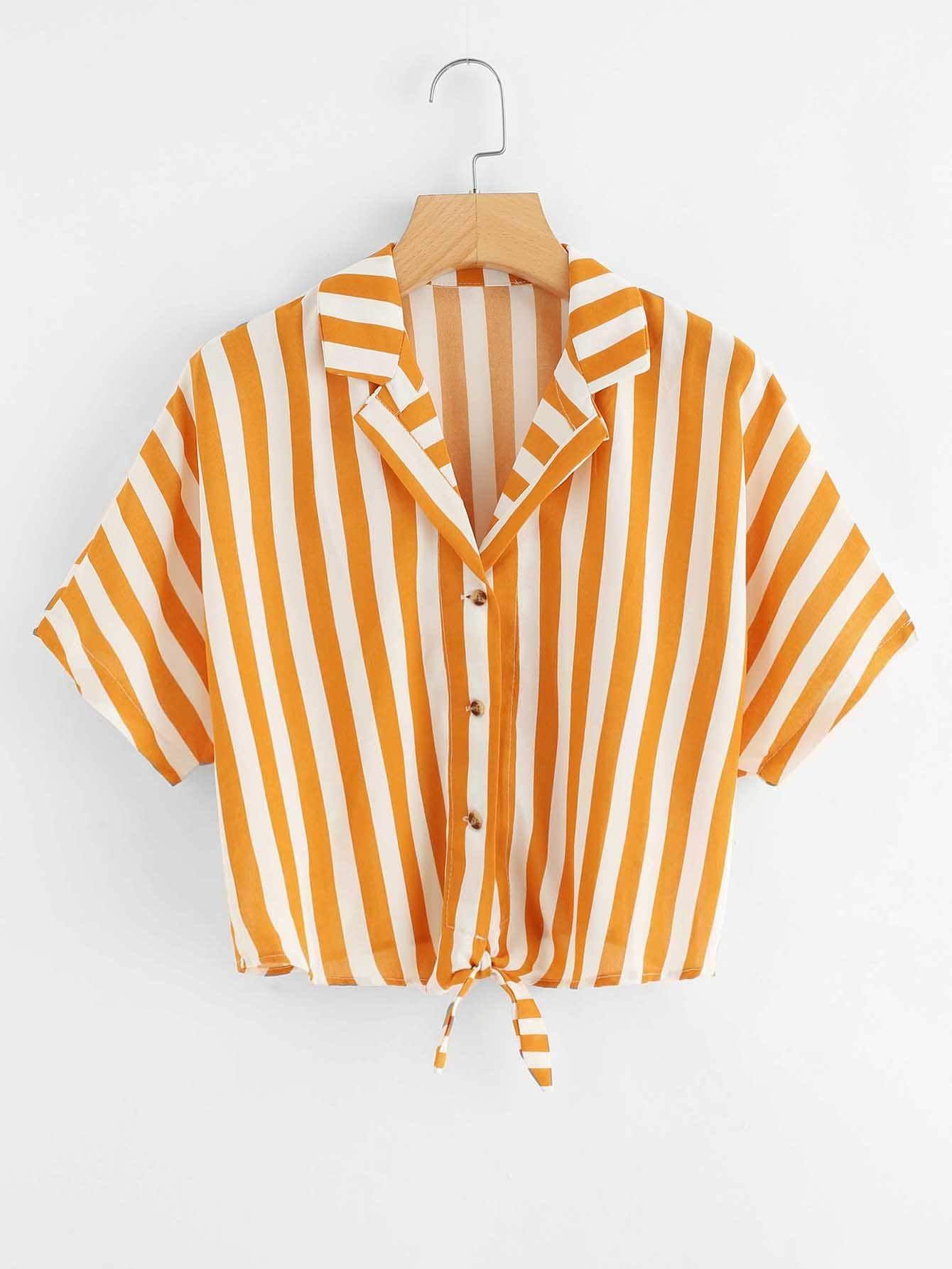 Knot Hem Striped Shirt Check out this Knot Hem Striped