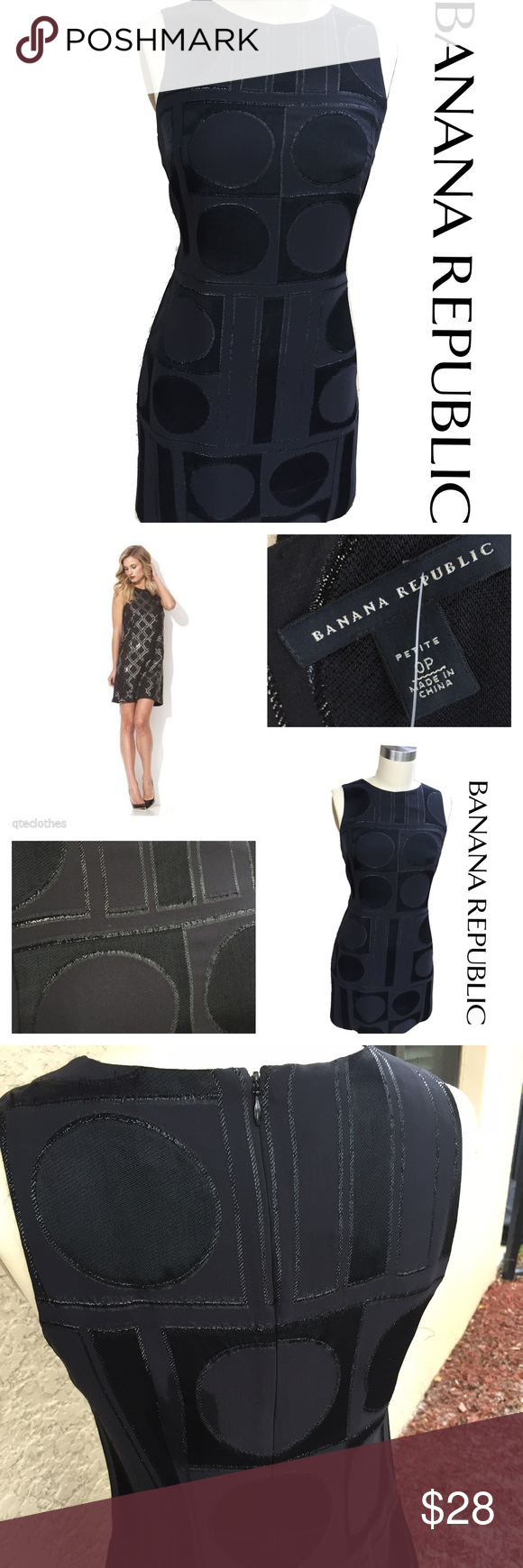 """Banana Republic silk little black cocktail dress This little black dress promises to make you the hit of the party.  With sexy, geometric patterns and shiny, metallic stitching this dress is a show stopper….added bonus – are the hidden POCKETS! Also with rear hidden zipper.  Fully lined.  Details & Measurements ·  Size: 0P ·  Bust: 16"""" (laying flat from armpit to armpit) ·  Length: 33"""" (top of shoulder to bottom hem) ·  Material: 62% silk, 31% rayon , 7% nylon Banana Republic Dresses Mini"""