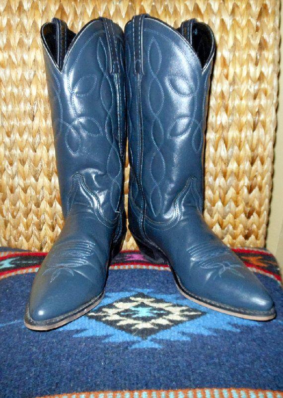 c2ebc5c31b3 Vintage Cowboy Cowgirl Navy Blue Western Boots Ladies size 8 M by ...
