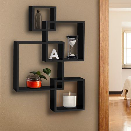 Best Choice Products Wall Mounted Floating Shelf Display Decor W Intersecting Squares Design Black Walmart Com Square Floating Shelves Floating Shelves Floating Shelves Living Room
