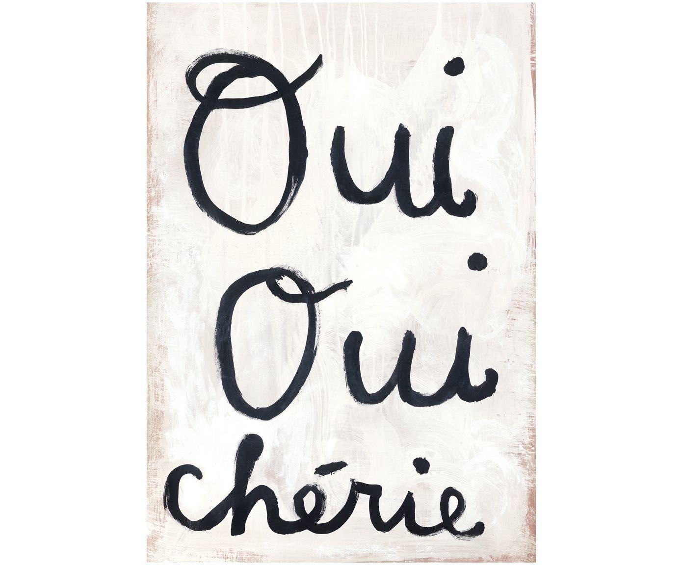 """Hängen Sie Ihre Inspiration nicht an den Nagel - sondern an die Wand! Ihr Herz schlägt für Frankreich? Der gerahmte Digitaldruck auf Leinwand OUI OUI gibt Ihnen mit dem Spruch """"Oui Oui chérie"""" eine kleine Nachhilfestunde in Sachen Französisch. Sugarboo verpasst Ihren Wänden mit dem Bild OUI OUI einen neuen Anstrich."""