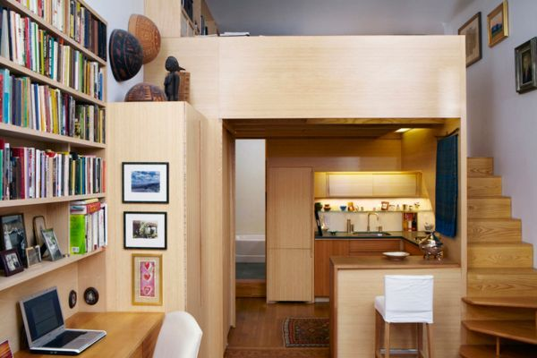 wohnideen kleine r ume einbauk che wohnebenen holz treppen minihaus pinterest einbauk chen. Black Bedroom Furniture Sets. Home Design Ideas
