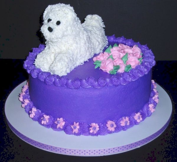 Dog Birthday Cake By Shirley4786 On Central Hair Was Added With A No 233 Tip Made Of Cupcake Pieces