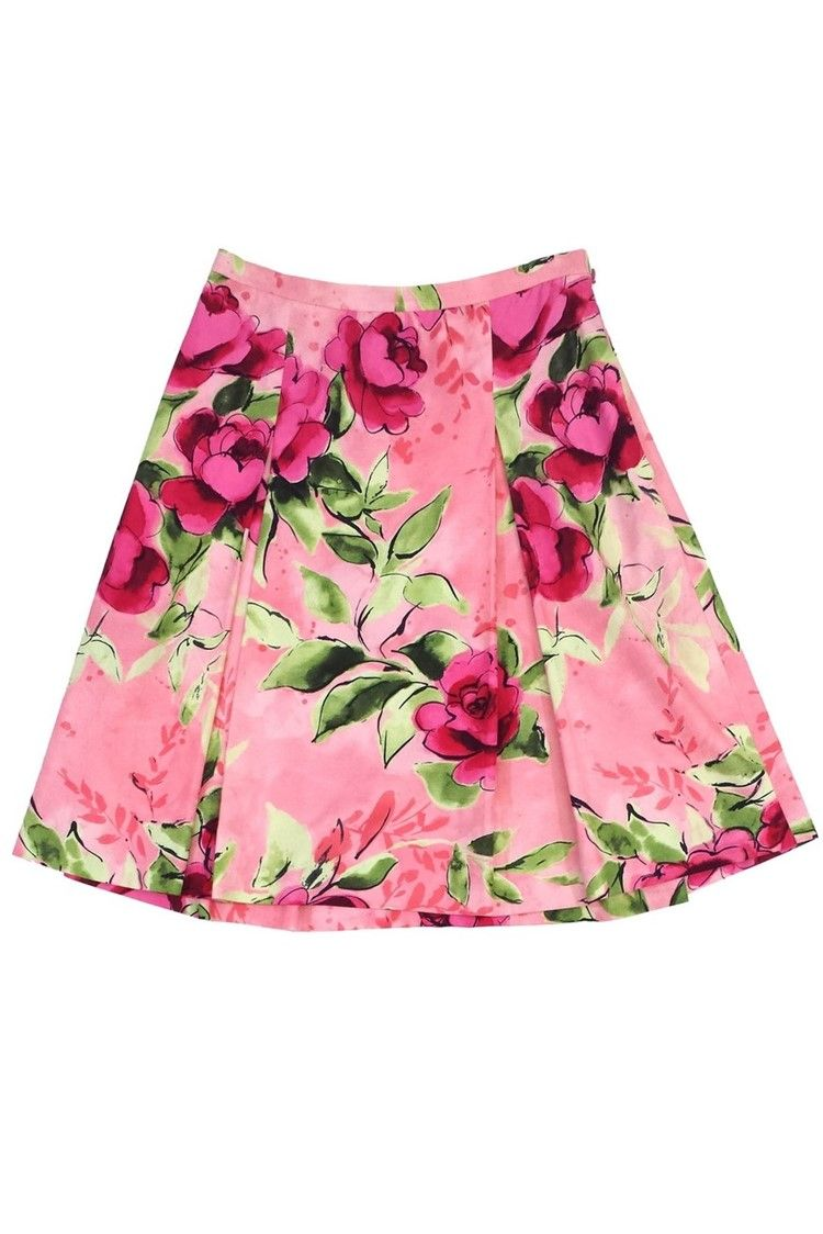 7f6caf93ae Cheap & Chic- Pink & Green Floral Print Cotton Skirt Sz 12 | Current  Boutique