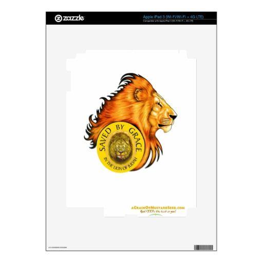 Lion of Judah Agrainofmustardseed.com Saved iPad 3 Skins Decal