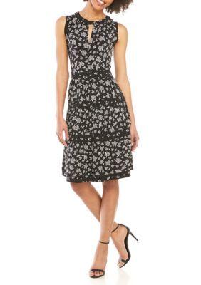 MICHAEL Michael Kors Wildfower Mix Tiered Sleeveless Dress #blacksleevelessdress