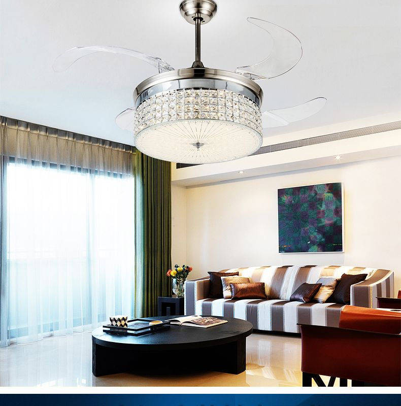 Led light ceiling chandelier fan variable expansion simple modern living room dining room bedroom ceiling chandelier