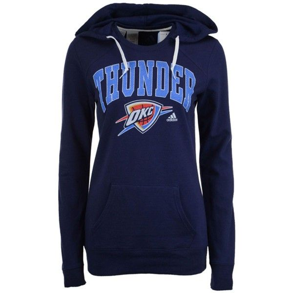 adidas Women's Oklahoma City Thunder Mesh Arch Hooded Sweatshirt ($60) ❤ liked on Polyvore featuring navy and adidas