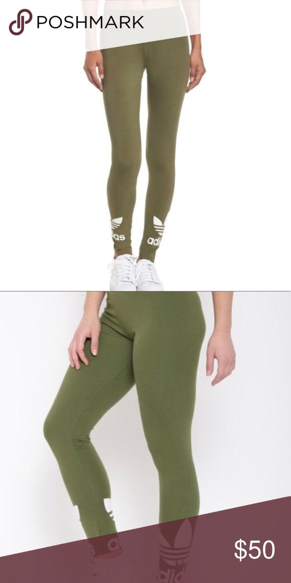 aac70b062034c Adidas Trefoil Olive Green Leggings Like new, hardly worn (3 times) adidas  leggings. Size XS. adidas Pants Leggings