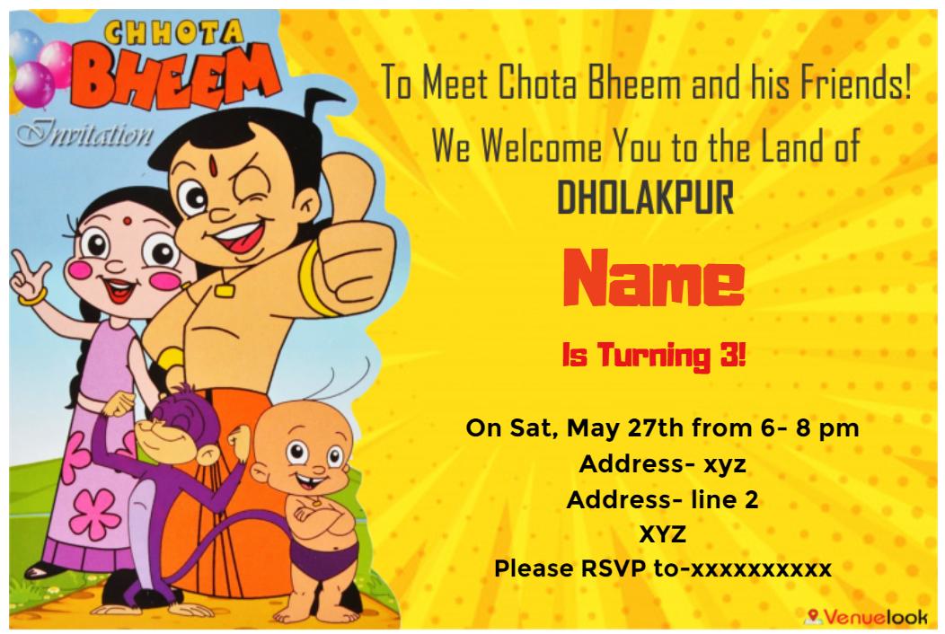 Pin On Chhota Bheem Theme Birthday E Invitation Designs