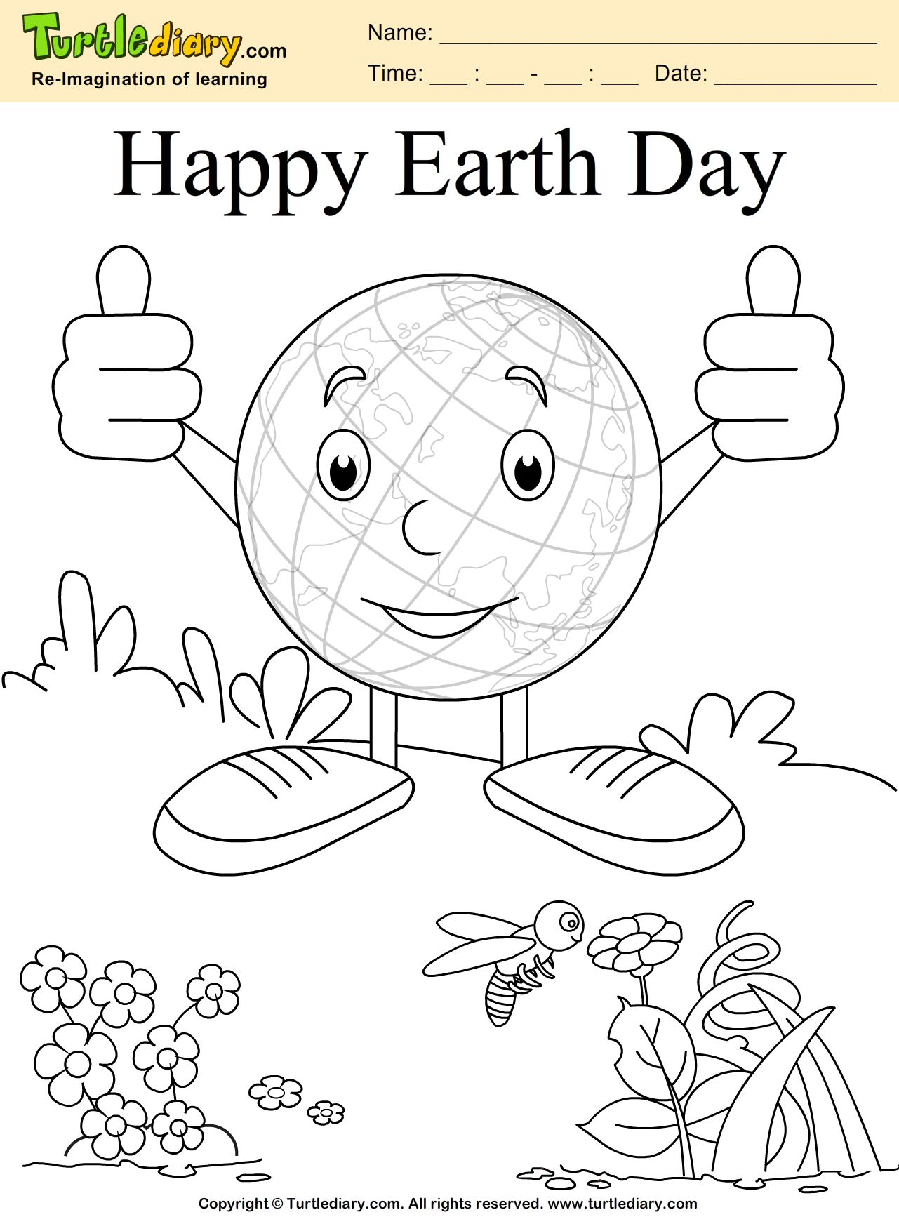 Happy Earth Day Coloring Page Kids Crafts Coloring TurtleDiary