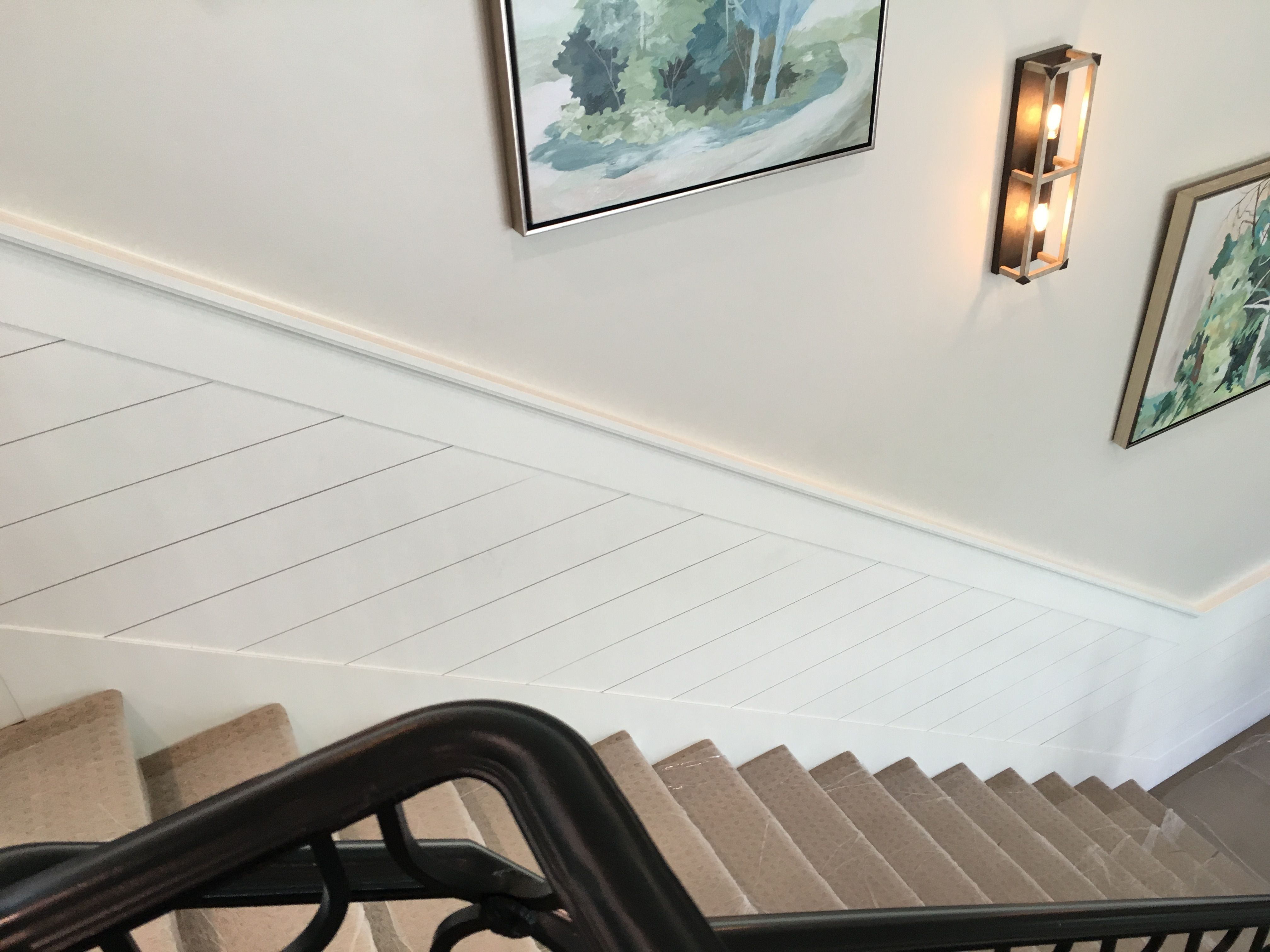 Shiplap Down Stairwell Interior Railing Wainscoting