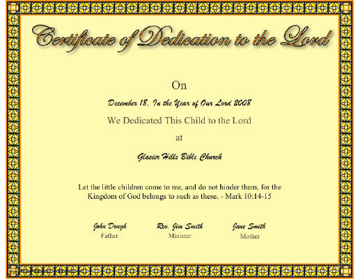This Christian Certificate Of A Baby Or Child Dedication To The Lord Has A  Border That  Baby Dedication Certificates Templates