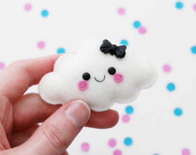 White Cloud Felt Brooch, Weather Accessory, Cute Pin