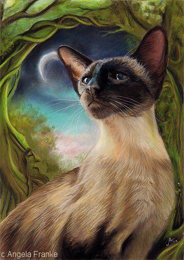 Art Print Siamese Oriental Fantasy Cat Kunstdruck Katze Pastell Chat Open Ed Ebay Cat Artwork Cat Painting Cat Art