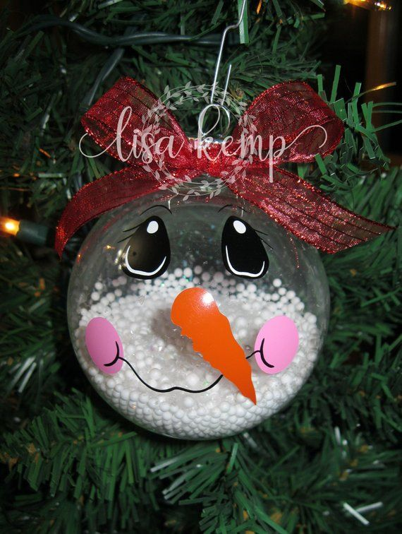 Snowman Face On A Clear Glass Ornament Clear Glass Ornaments