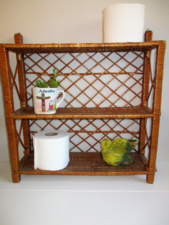 Rattan Wicker Shelves Bathroom Shelf