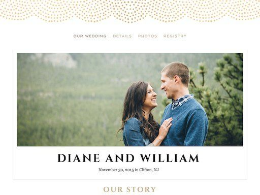 The Knot Wedding Websites.Majestic Champagne Theme Personalized Wedding Website Builder
