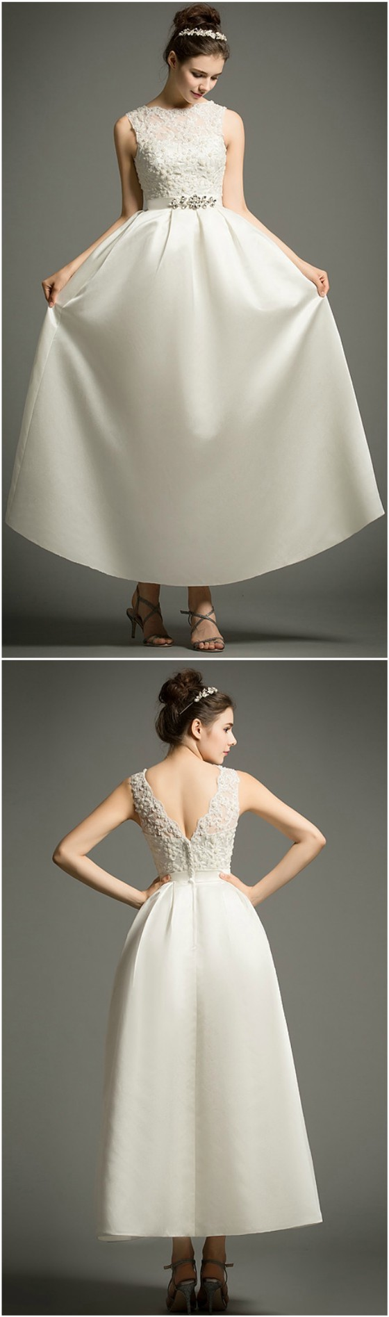 Simple Vintage Tealength Satin Wedding Dress With Lace
